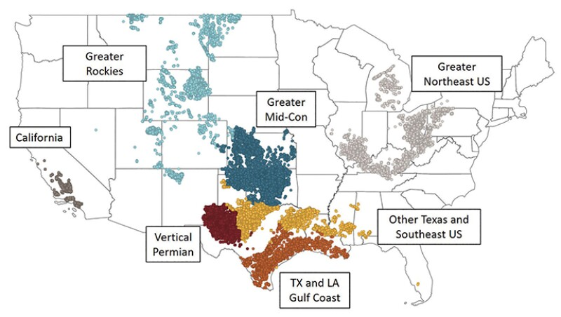 Regional grouping of active vertical oil wells for analysis.