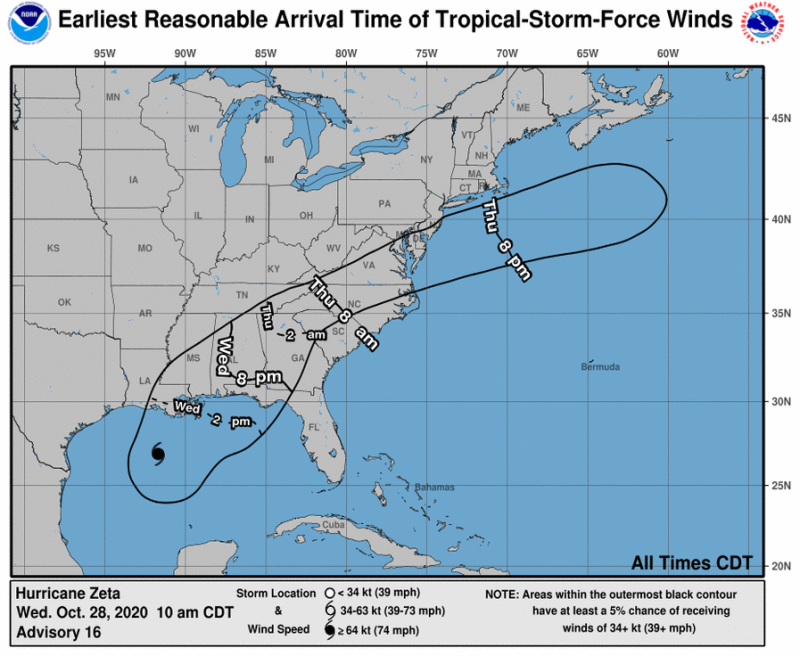 Map showing possible path of Hurricane Zeta
